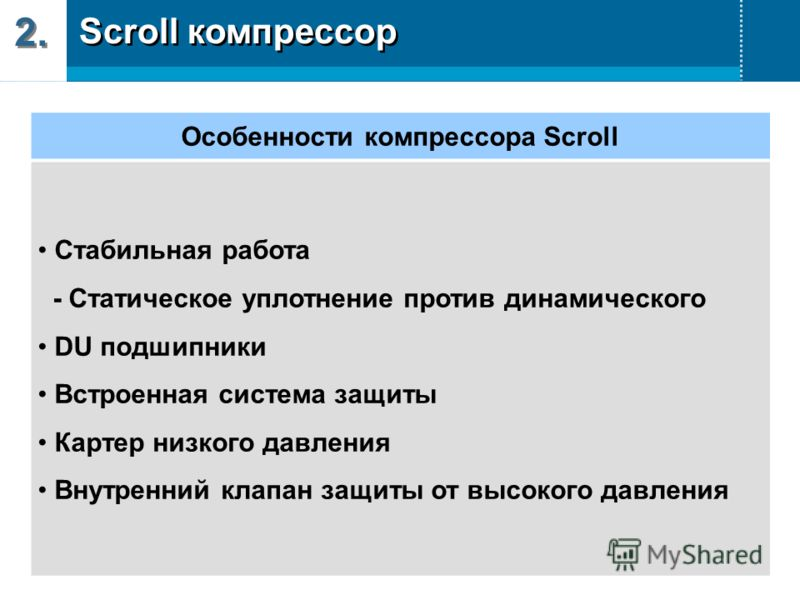 2. Особенности компрессора Scroll Стабильная работа - Статическое уплотнение против динамического DU подшипники Встроенная система защиты Картер низкого давления Внутренний клапан защиты от высокого давления Scroll компрессор