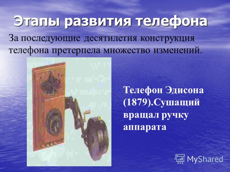 Этапы развития телефона За последующие десятилетия конструкция телефона претерпела множество изменений. Телефон Эдисона (1879).Сушащий вращал ручку аппарата