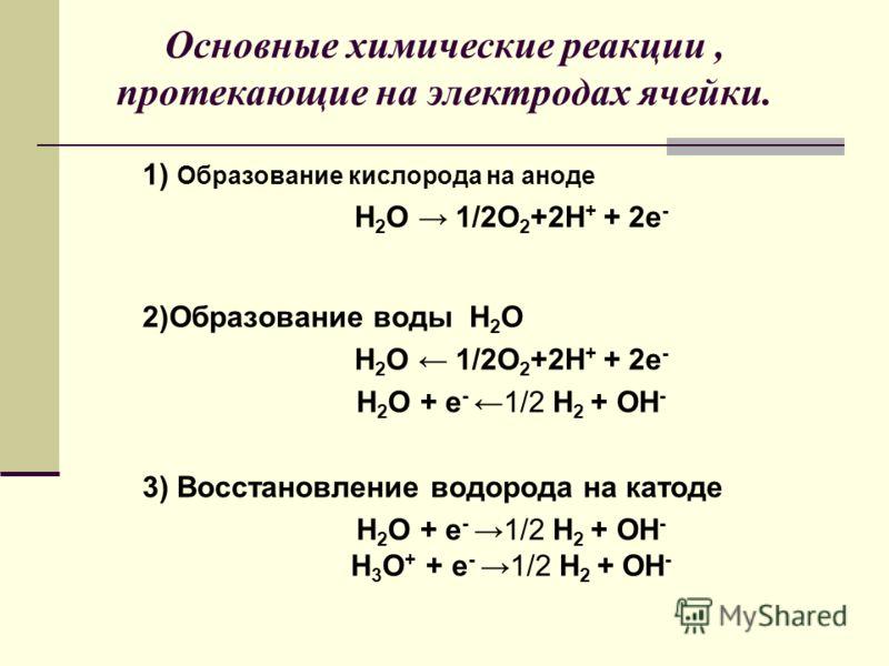 1) Образование кислорода на аноде H 2 O 1/2О 2 +2H + + 2е - 2)Образование воды H 2 O H 2 O 1/2О 2 +2H + + 2е - H 2 O + е -1/2 H 2 + OH - 3) Восстановление водорода на катоде H 2 O + е -1/2 H 2 + OH - H 3 O + + е -1/2 H 2 + OH - Основные химические ре