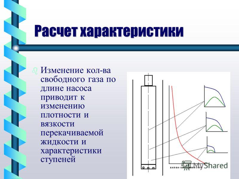 Расчет характеристики b b Изменение кол-ва свободного газа по длине насоса приводит к изменению плотности и вязкости перекачиваемой жидкости и характеристики ступеней