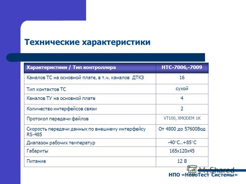 Технические характеристики Характеристики / Тип контроллераНТС-7006,-7009 Каналов ТС на основной плате, в т.ч. каналов ДТКЗ16 Тип контактов ТС сухой Каналов ТУ на основной плате4 Количество интерфейсов связи2 Протокол передачи файлов VT100, XMODEM 1K