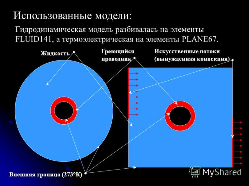 Использованные модели: Гидродинамическая модель разбивалась на элементы FLUID141, а термоэлектрическая на элементы PLANE67. Жидкость Греющийся проводник Внешняя граница (273°К) Искусственные потоки (вынужденная конвекция)