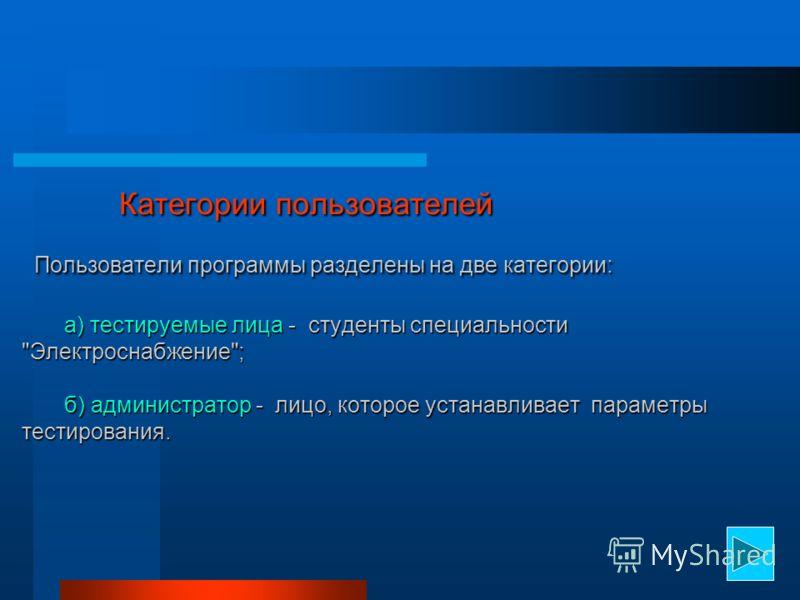 Категории пользователей Пользователи программы разделены на две категории: а) тестируемые лица - студенты специальности