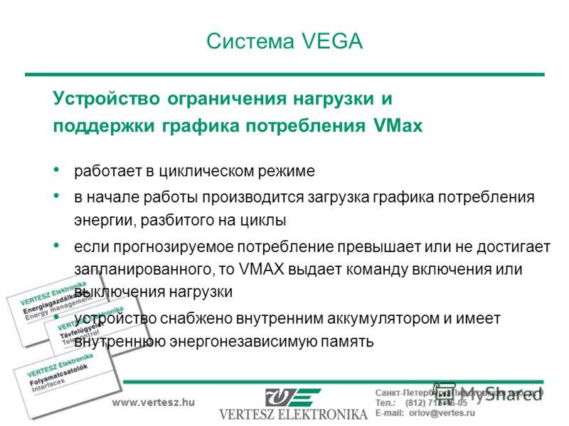 Система VEGA Устройство ограничения нагрузки и поддержки графика потребления VMax работает в циклическом режиме в начале работы производится загрузка графика потребления энергии, разбитого на циклы если прогнозируемое потребление превышает или не дос