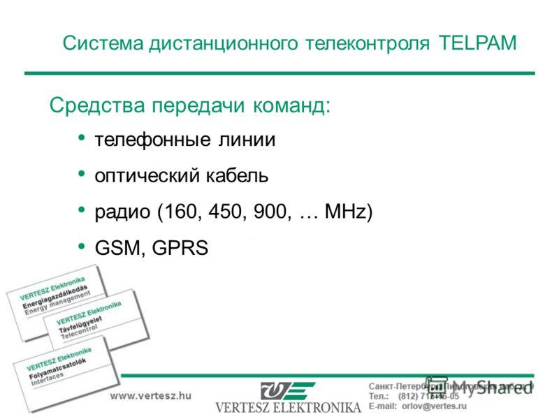Система дистанционного телеконтроля TELPAM Средства передачи команд: телефонные линии оптический кабель радио (160, 450, 900, … MHz) GSM, GPRS