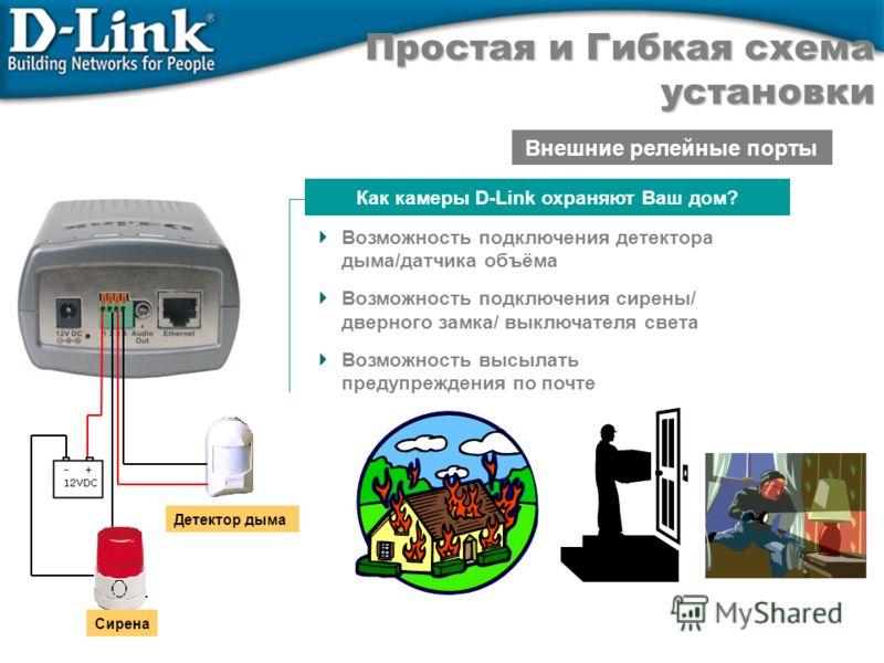 Внешние релейные порты Сирена Детектор дыма Как камеры D-Link охраняют Ваш дом? Возможность подключения детектора дыма/датчика объёма Возможность подключения сирены/ дверного замка/ выключателя света Возможность высылать предупреждения по почте Прост