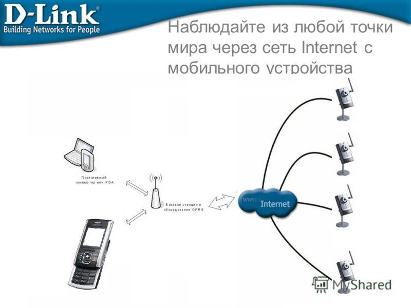 Наблюдайте из любой точки мира через сеть Internet с мобильного устройства