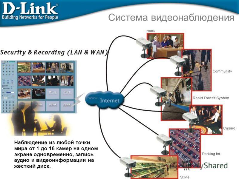 Система видеонаблюдения Наблюдение из любой точки мира от 1 до 16 камер на одном экране одновременно, запись аудио и видеоинформации на жесткий диск.