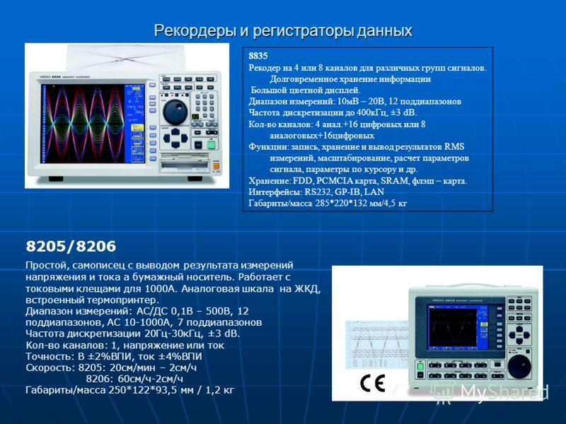 Рекордеры и регистраторы данных 8835 Рекодер на 4 или 8 каналов для различных групп сигналов. Долговременное хранение информации Большой цветной дисплей. Диапазон измерений: 10мВ – 20В, 12 поддиапазонов Частота дискретизации до 400кГц, ±3 dB. Кол-во