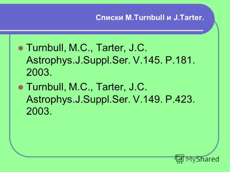Списки M.Turnbull и J.Tarter. Turnbull, M.C., Tarter, J.C. Astrophys.J.Suppl.Ser. V.145. P.181. 2003. Turnbull, M.C., Tarter, J.C. Astrophys.J.Suppl.Ser. V.149. P.423. 2003.