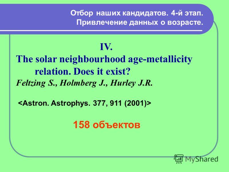 Отбор наших кандидатов. 4-й этап. Привлечение данных о возрасте. IV. The solar neighbourhood age-metallicity relation. Does it exist? Feltzing S., Holmberg J., Hurley J.R. 158 объектов