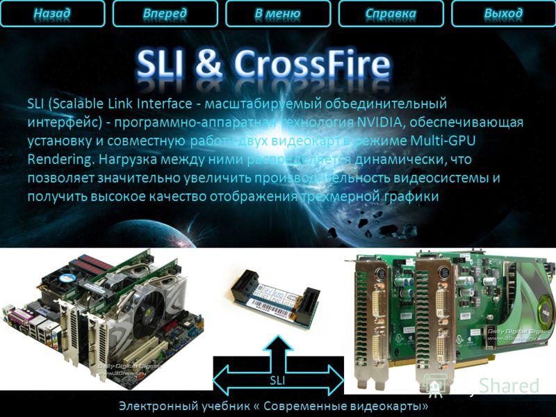 Электронный учебник « Современные видеокарты» SLI (Scalable Link Interface - масштабируемый объединительный интерфейс) - программно-аппаратная технология NVIDIA, обеспечивающая установку и совместную работу двух видеокарт в режиме Multi-GPU Rendering