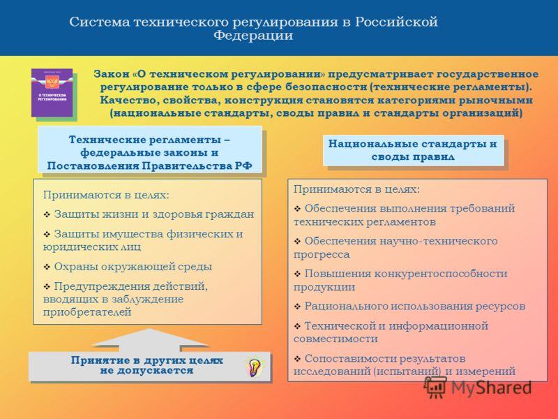 Система технического регулирования в Российской Федерации Закон «О техническом регулировании» предусматривает государственное регулирование только в сфере безопасности (технические регламенты). Качество, свойства, конструкция становятся категориями р