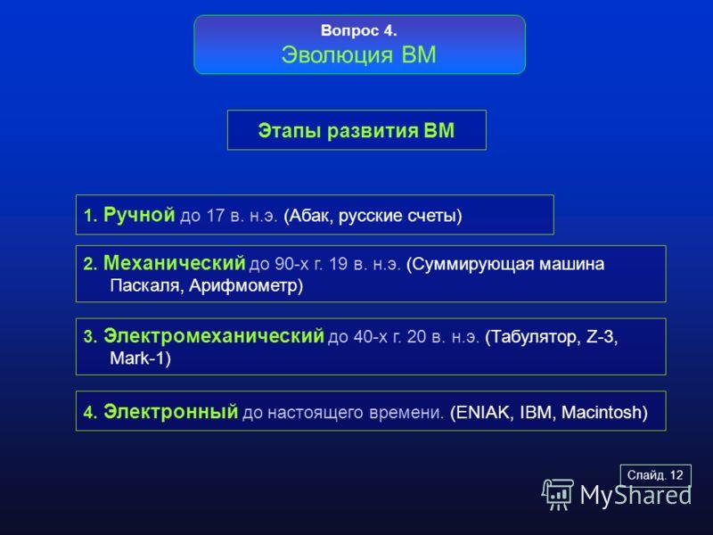 Слайд. 12 Этапы развития ВМ Вопрос 4. Эволюция ВМ 1. Ручной до 17 в. н.э. (Абак, русские счеты) 2. Механический до 90-х г. 19 в. н.э. (Суммирующая машина Паскаля, Арифмометр) 3. Электромеханический до 40-х г. 20 в. н.э. (Табулятор, Z-3, Mark-1) 4. Эл