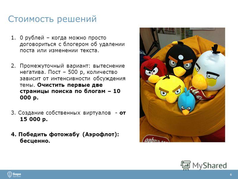 Стоимость решений 6 1.0 рублей – когда можно просто договориться с блогером об удалении поста или изменении текста. 2.Промежуточный вариант: вытеснение негатива. Пост – 500 р, количество зависит от интенсивности обсуждения темы. Очистить первые две с