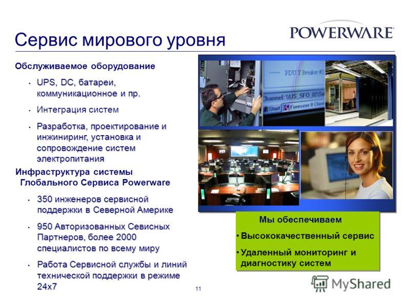 11 Мы обеспечиваем Высококачественный сервис Удаленный мониторинг и диагностику систем Мы обеспечиваем Высококачественный сервис Удаленный мониторинг и диагностику систем Сервис мирового уровня Инфраструктура системы Глобального Сервиса Powerware 350