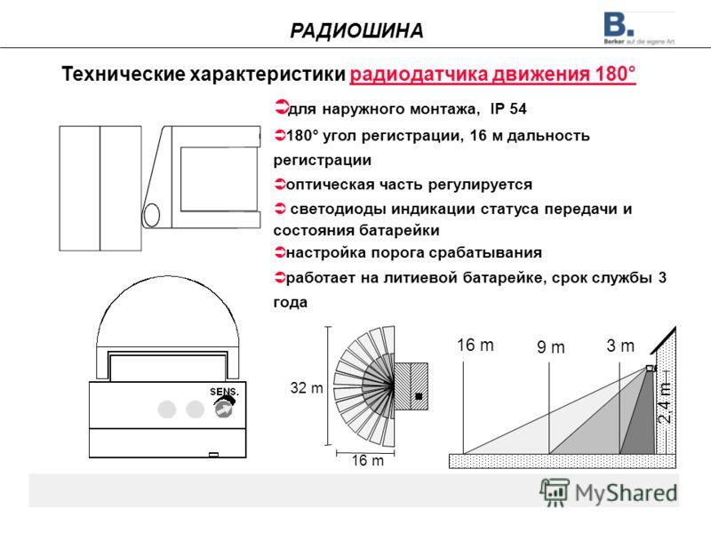 Технические характеристики радиодатчика движения 180° 32 m 16 m 2,4 m 9 m 3 m для наружного монтажа, IP 54 180° угол регистрации, 16 м дальность регистрации оптическая часть регулируется светодиоды индикации статуса передачи и состояния батарейки нас