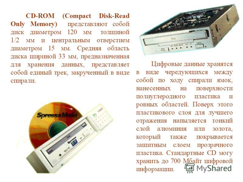 CD-ROM (Compact Disk-Read Only Memory) представляют собой диск диаметром 120 мм толщиной 1/2 мм и центральным отверстием диаметром 15 мм. Средняя область диска шириной 33 мм, предназначенная для хранения данных, представляет собой единый трек, закруч