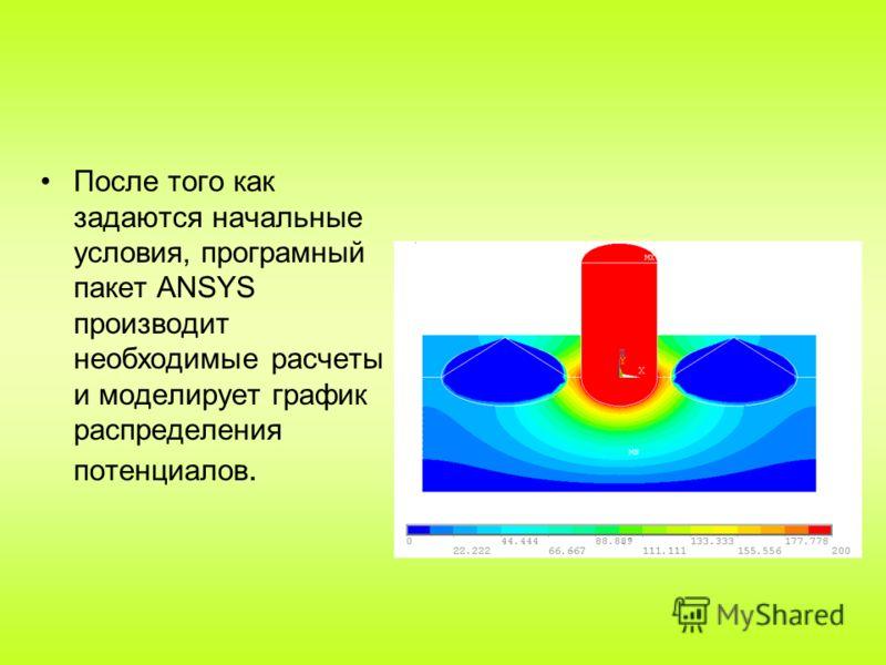 После того как задаются начальные условия, програмный пакет ANSYS производит необходимые расчеты и моделирует график распределения потенциалов.