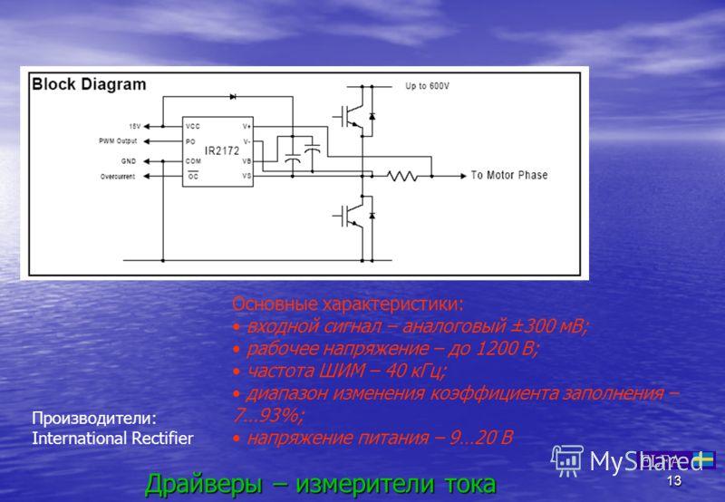 13 Драйверы – измерители тока Основные характеристики: входной сигнал – аналоговый ±300 мВ; рабочее напряжение – до 1200 В; частота ШИМ – 40 кГц; диапазон изменения коэффициента заполнения – 7…93%; напряжение питания – 9…20 В Производители: Internati