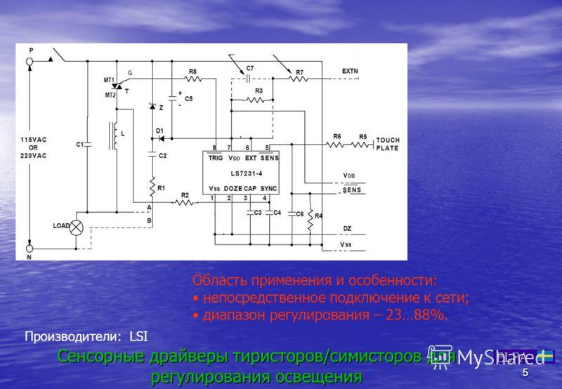 5 Сенсорные драйверы тиристоров/симисторов для регулирования освещения Область применения и особенности: непосредственное подключение к сети; диапазон регулирования – 23…88%. Производители: LSI LS 723XLS 723X
