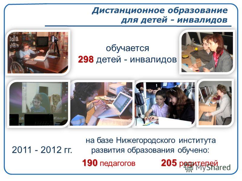 Дистанционное образование для детей - инвалидов обучается 298 298 детей - инвалидов 190205 190 педагогов 205 родителей 2011 - 2012 гг. на базе Нижегородского института развития образования обучено: