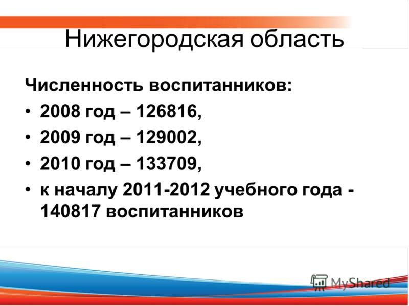 Нижегородская область Численность воспитанников: 2008 год – 126816, 2009 год – 129002, 2010 год – 133709, к началу 2011-2012 учебного года - 140817 воспитанников
