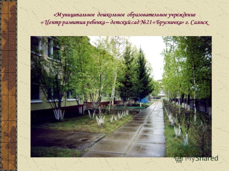 «Муниципальное дошкольное образовательное учреждение « Центр развития ребенка – детский сад 21 « Брусничка » г. Саянск
