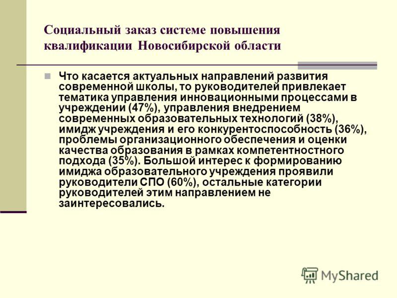 Социальный заказ системе повышения квалификации Новосибирской области Что касается актуальных направлений развития современной школы, то руководителей привлекает тематика управления инновационными процессами в учреждении (47%), управления внедрением