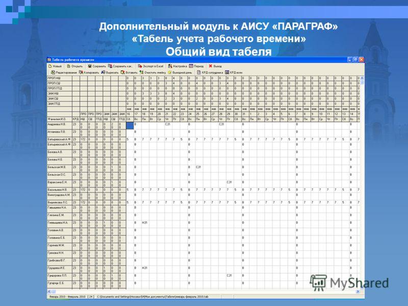 Дополнительный модуль к АИСУ «ПАРАГРАФ» «Табель учета рабочего времени» Общий вид табеля