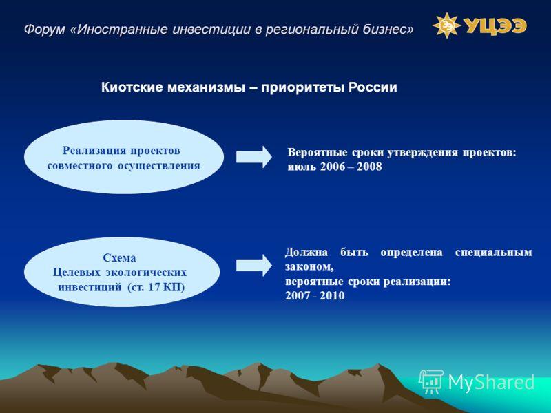 Киотские механизмы – приоритеты России Реализация проектов совместного осуществления Схема Целевых экологических инвестиций (ст. 17 КП) Вероятные сроки утверждения проектов: июль 2006 – 2008 Должна быть определена специальным законом, вероятные сроки