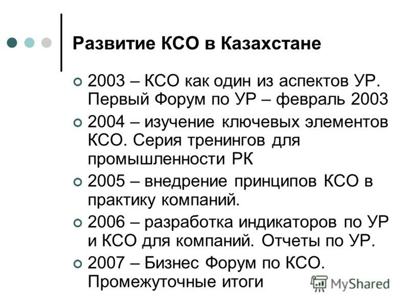 Развитие КСО в Казахстане 2003 – КСО как один из аспектов УР. Первый Форум по УР – февраль 2003 2004 – изучение ключевых элементов КСО. Серия тренингов для промышленности РК 2005 – внедрение принципов КСО в практику компаний. 2006 – разработка индика
