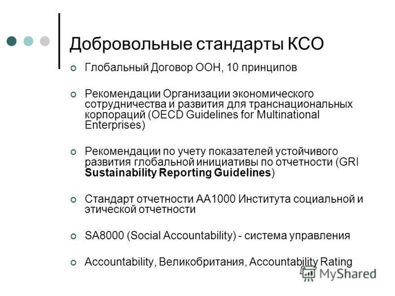 Добровольные стандарты КСО Глобальный Договор ООН, 10 принципов Рекомендации Организации экономического сотрудничества и развития для транснациональных корпораций (OECD Guidelines for Multinational Enterprises) Рекомендации по учету показателей устой