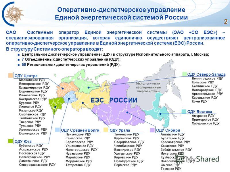 2 Оперативно-диспетчерское управление Единой энергетической системой России ОАО Системный оператор Единой энергетической системы (ОАО «СО ЕЭС») – специализированная организация, которая единолично осуществляет централизованное оперативно-диспетчерско