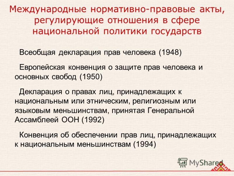 Международные нормативно-правовые акты, регулирующие отношения в сфере национальной политики государств Всеобщая декларация прав человека (1948) Европейская конвенция о защите прав человека и основных свобод (1950) Декларация о правах лиц, принадлежа