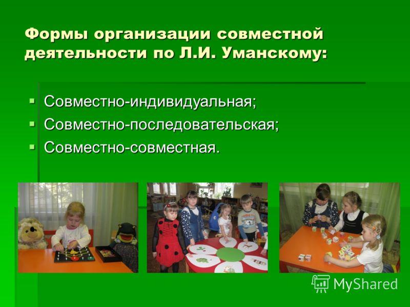 Формы организации совместной деятельности по Л.И. Уманскому: Совместно-индивидуальная; Совместно-индивидуальная; Совместно-последовательская; Совместно-последовательская; Совместно-совместная. Совместно-совместная.