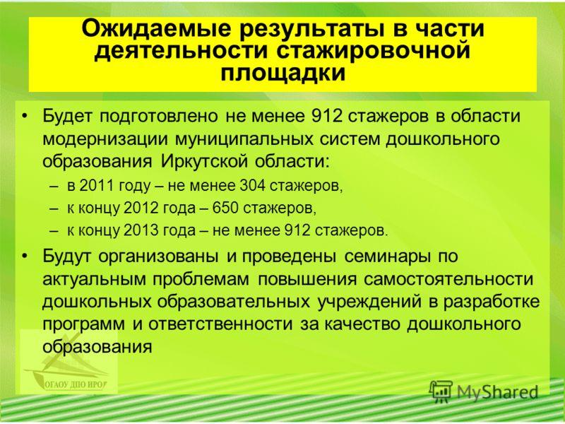 Ожидаемые результаты в части деятельности стажировочной площадки Будет подготовлено не менее 912 стажеров в области модернизации муниципальных систем дошкольного образования Иркутской области: –в 2011 году – не менее 304 стажеров, –к концу 2012 года