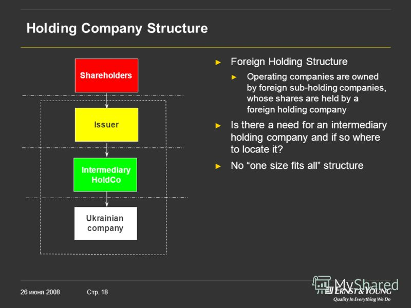 26 июня 2008Стр. 18 Holding Company Structure Foreign Holding Structure Operating companies are owned by foreign sub-holding companies, whose shares are held by a foreign holding company Is there a need for an intermediary holding company and if so w