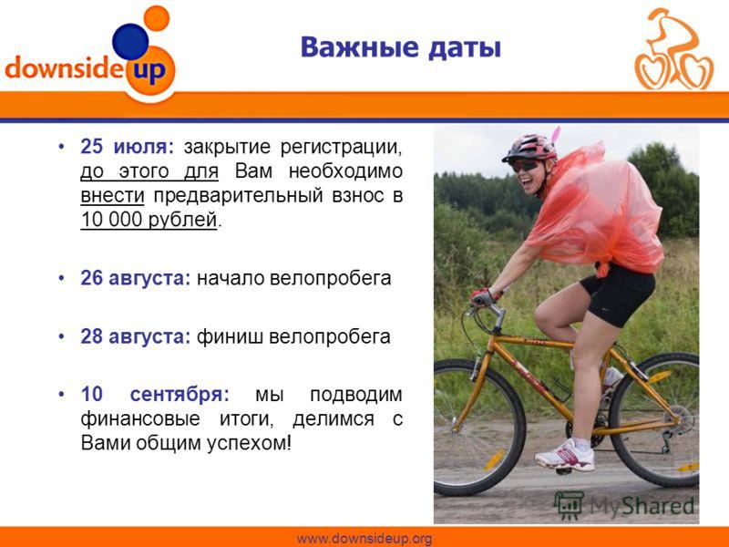 Важные даты 25 июля: закрытие регистрации, до этого для Вам необходимо внести предварительный взнос в 10 000 рублей. 26 августа: начало велопробега 28 августа: финиш велопробега 10 сентября: мы подводим финансовые итоги, делимся с Вами общим успехом!