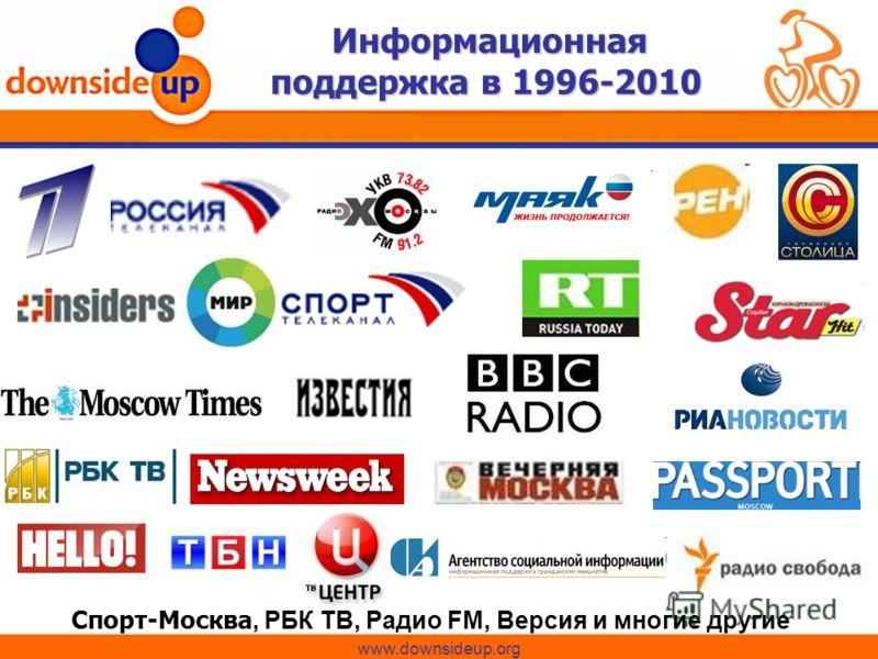 Информационная поддержка в 1996-2010 Спорт-Москва, РБК ТВ, Радио FM, Версия и многие другие www.downsideup.org