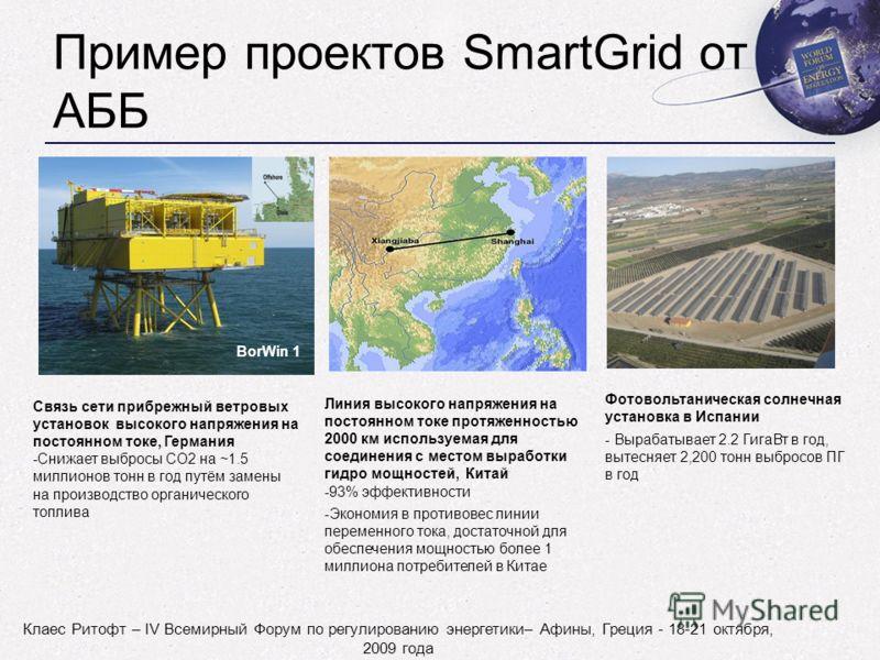 Клаес Ритофт – IV Всемирный Форум по регулированию энергетики– Афины, Греция - 18-21 октября, 2009 года Пример проектов SmartGrid от АББ BorWin 1 Связь сети прибрежный ветровых установок высокого напряжения на постоянном токе, Германия -Снижает выбро