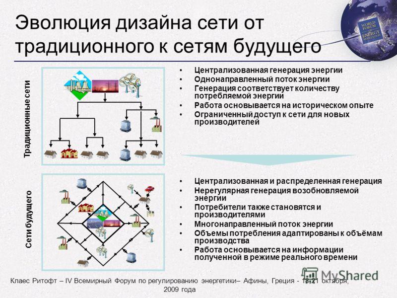 Клаес Ритофт – IV Всемирный Форум по регулированию энергетики– Афины, Греция - 18-21 октября, 2009 года Эволюция дизайна сети от традиционного к сетям будущего Централизованная генерация энергии Однонаправленный поток энергии Генерация соответствует