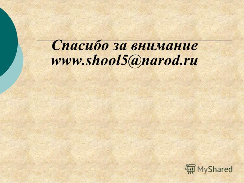 Спасибо за внимание www.shool5@narod.ru