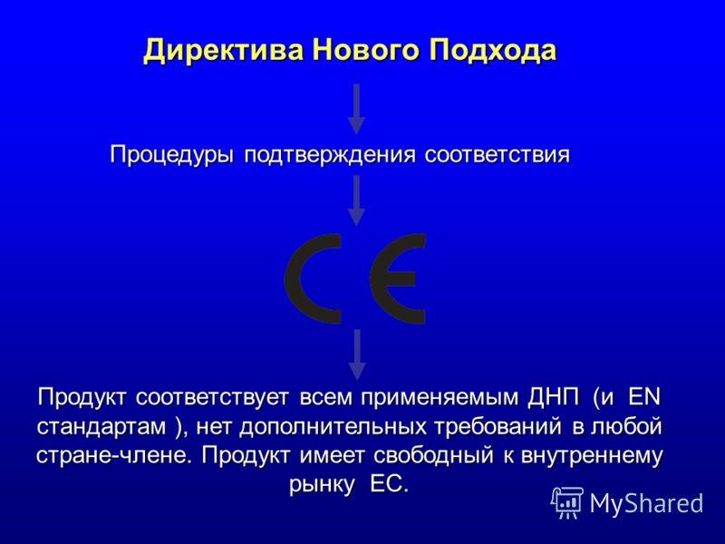 Директива Нового Подхода Продукт соответствует всем применяемым ДНП (и EN стандартам ), нет дополнительных требований в любой стране-члене. Продукт имеет свободный к внутреннему рынку EC. Процедуры подтверждения соответствия