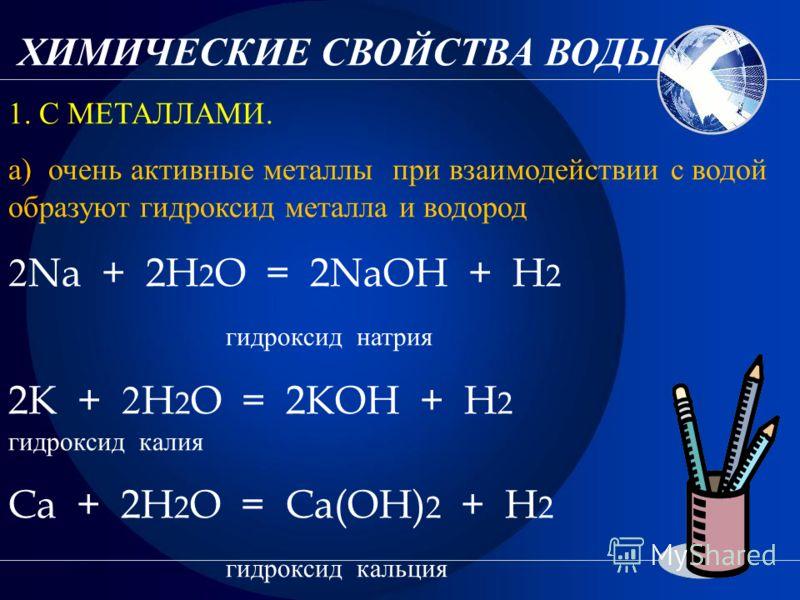 ХИМИЧЕСКИЕ СВОЙСТВА ВОДЫ. 1. С МЕТАЛЛАМИ. а) очень активные металлы при взаимодействии с водой образуют гидроксид металла и водород 2 Na + 2H 2 O = 2NaOH + H 2 гидроксид натрия 2K + 2 H 2 O = 2KOH + H 2 гидроксид калия Ca + 2H 2 O = Ca(OH) 2 + H 2 ги