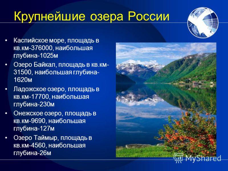 Крупнейшие озера России Каспийское море, площадь в кв.км-376000, наибольшая глубина-1025м Озеро Байкал, площадь в кв.км- 31500, наибольшая глубина- 1620м Ладожское озеро, площадь в кв.км-17700, наибольшая глубина-230м Онежское озеро, площадь в кв.км-