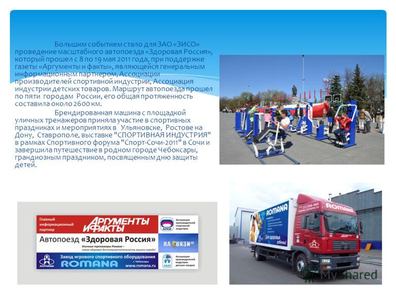 Большим событием стало для ЗАО «ЗИСО» проведение масштабного автопоезда «Здоровая Россия», который прошел с 8 по 19 мая 2011 года, при поддержке газеты «Аргументы и факты», являющейся генеральным информационным партнером, Ассоциации производителей сп