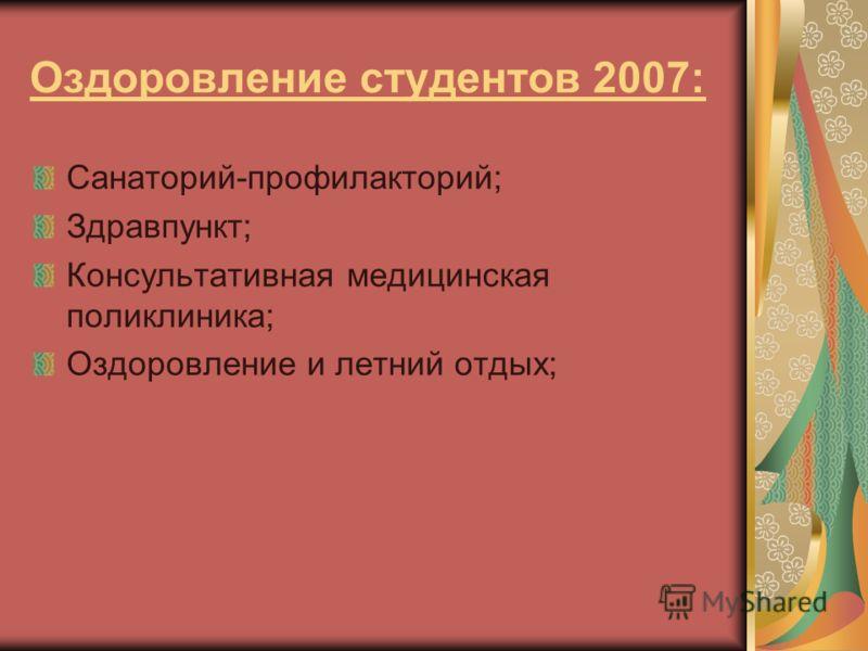 Оздоровление студентов 2007: Санаторий-профилакторий; Здравпункт; Консультативная медицинская поликлиника; Оздоровление и летний отдых;