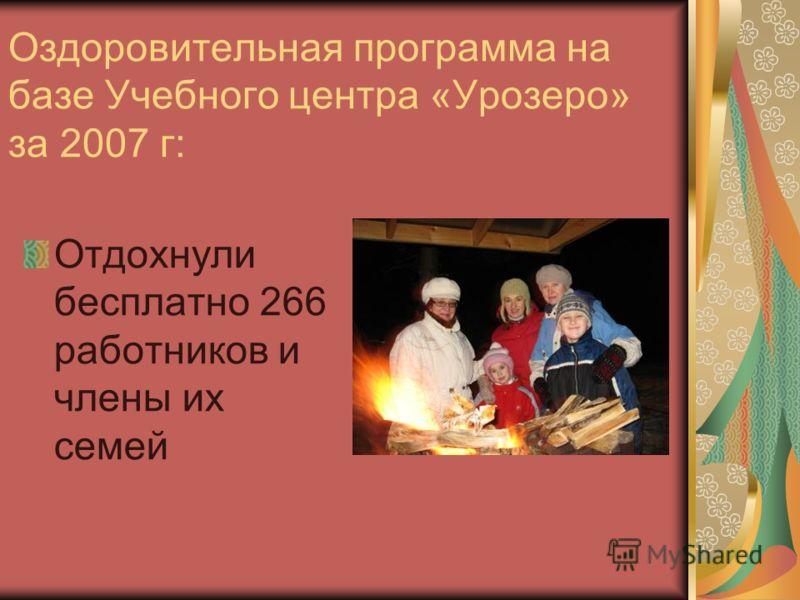 Оздоровительная программа на базе Учебного центра «Урозеро» за 2007 г: Отдохнули бесплатно 266 работников и члены их семей