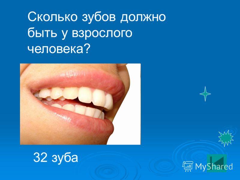 Сколько зубов должно быть у взрослого человека? 32 зуба